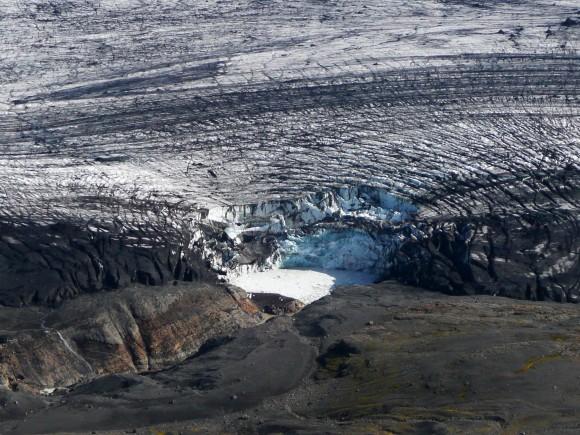 Au dessus du Vatnajökull, en Islande.