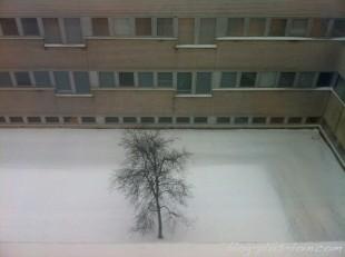 Vue depuis un couloir de l'hôpital d'Oulu.