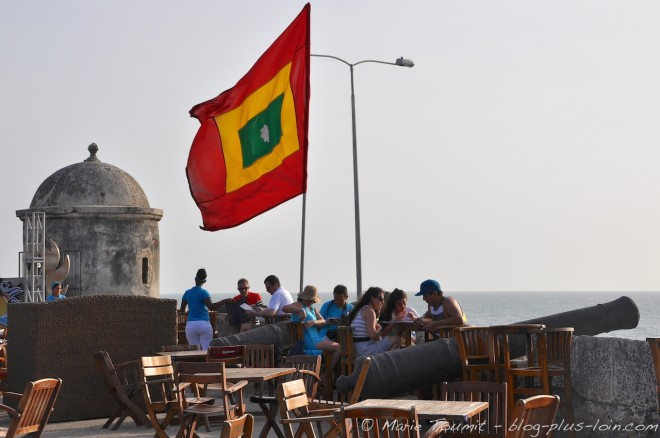 Cafe del mar, sur les fortifications. Carthagène. Colombie.